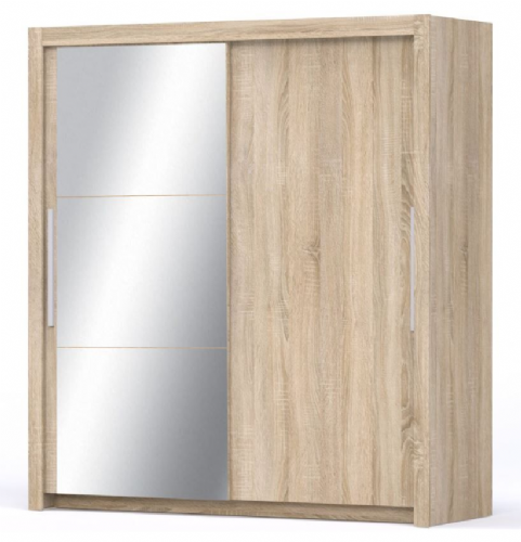Miami Sliding Door Wardrobe Slider Cupboard Oak effect & Mirrored - 2636